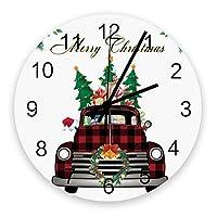 掛け時計 クリスマス クリスマスツリー プレゼント 紅い格子 壁掛け時計 掛時計 静音 clock サイレント 壁時計 部屋 リビング 玄関 インテリア コンパクトサイズ 電池式 木掛け鐘 大数字 円形 贈り物 直径 30cm