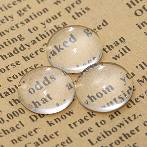 Dophee 100Pcs Crystal Clear Round Cabochon Flat Back Glass Dome Tile Jewellery Making,12mm