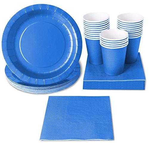 Einweggeschirr Party-Set für 24 Personen von Juvale - Beinhaltet Pappteller, Servietten und Pappbecher - Für Geburtstage, Gartenfeste, Grillfeste, Catering, Seminare, festliche Anlässe - Blau