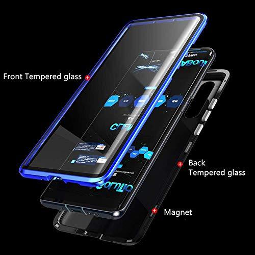 Yichxu Huawei P30 Pro Hülle Magnet, Magnetische Adsorption Handyhülle für Huawei P30 Pro, Einteiliges 360 Grad Gehärtetes Glas Schutzhülle Panzerglasfolie Durchsichtige Case Cover, Blau - 2