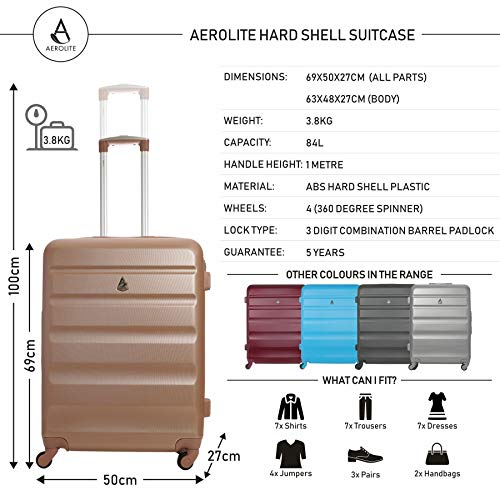 Aerolite Aerolite Leichtgewicht ABS Hartschale 4 Rollen Trolley Koffer Reisekoffer Hartschalenkoffer Rollkoffer Gepäck, 69cm, Roségold