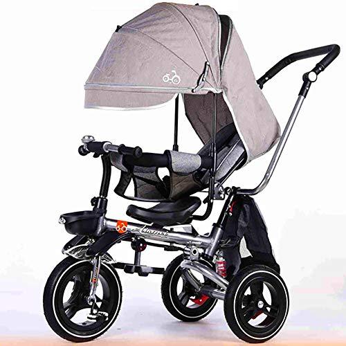 HYLX Baby Dreirad,Buggy Trike 4 in 1 Verstellbare Fußablage Kinder Kinderdreirad Multifunktionaler Schieber Kinderwagen - Platzsparend Faltbar - Sonnendach - Luftreifen - Einkaufstasche, Gray