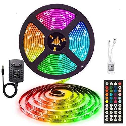 Cinturón de luz LED de 12V 5M / 10M / 15M 16.4FT / 32.8FT / 49.2FT 5050 RGB LED de cinta LED Luz de cuerda RGB, control remoto de cinta ligera, TV Dormitorio Fiesta Familia Iluminación Familia Decorac
