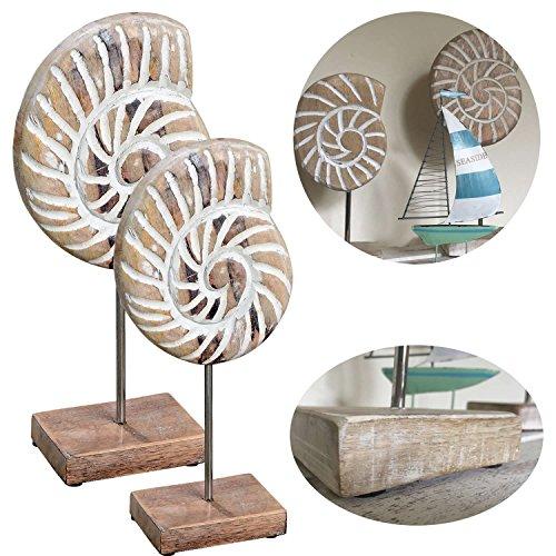 LS-LebenStil 2X Mango Holz Deko Objekt Muschel mit Sockel Skulptur Maritim Set 2 Ständer