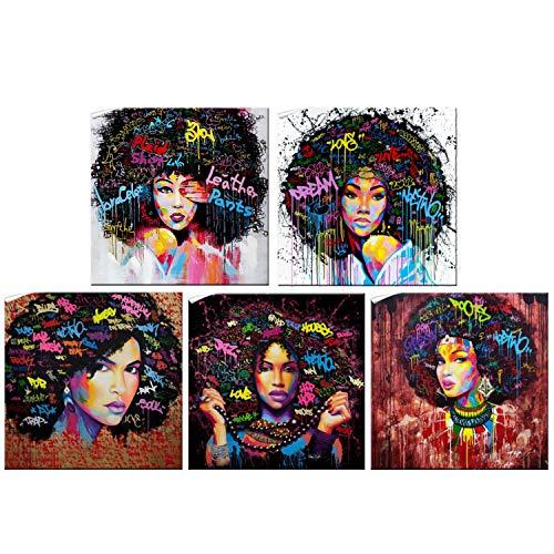 Set of 5 African Girl Canvas Print Art African American Black Girl Wall Art