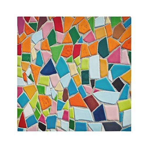 JinDoDo Servilletas de satén de cerámica con diseño de mosaico de azulejos de fondo lavable, decoración de fiesta festiva, 50,8 x 50,8 cm, juego de 4