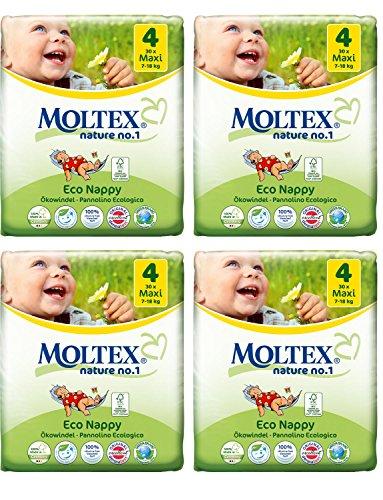 Packung mit 4 Moltex Maxi Windeln Größe 4 (120 Windeln)