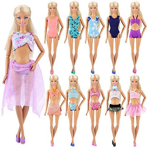 Miunana 5 Sets Sommer Beach Badeanzug Strand Bikini Baden Badebekleidung Outfits Kleidung Sommerkleidung für 11,5 Zoll Mädchen Puppen
