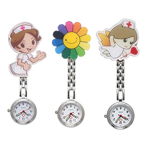 JSDDE Orologio da polso 3X infermiera Fob Cartoon orologio Cura Orologio Girasole orologio da infermiera orologio da tasca Quarzo Orologio Orologi Set