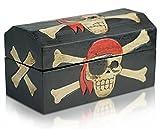 Brynnberg Caja de Madera Cofre del Tesoro Pirata - Hecha a Mano (Negro, L...
