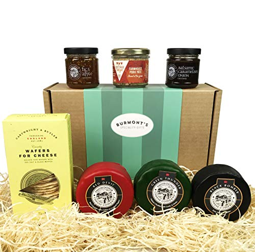 Snowdonia Cheese Company Gift Hamper Containing 3, 200g Truckles, Chutneys, Farmhouse Pate & Wafers for Cheese. Hamper Exclusive to Burmont's