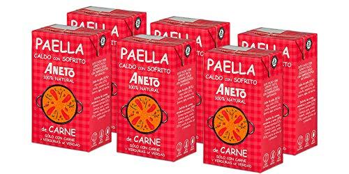 Aneto 100% Natural - Caldo para Paella de Carne y Verduras - caja de 6 unidades de 1 litro