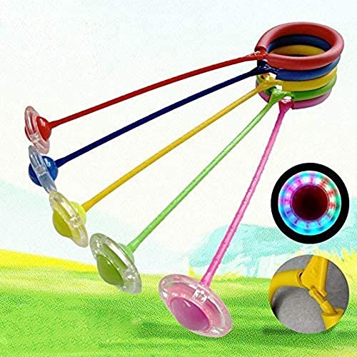 Springball,Knöchel Skip Ball, Kinder Blinkend Springseil Ball Spaß Skip Seilball Spielplatz Sport Kits (Pink)