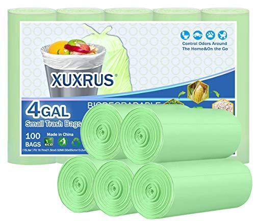 XUXRUS - Bolsas de basura biodegradables de 15 litros, 100 unidades, bolsas de basura de 4 galones, para baño, cesta de basura para cocina, hogar, dormitorio, oficina, color verde