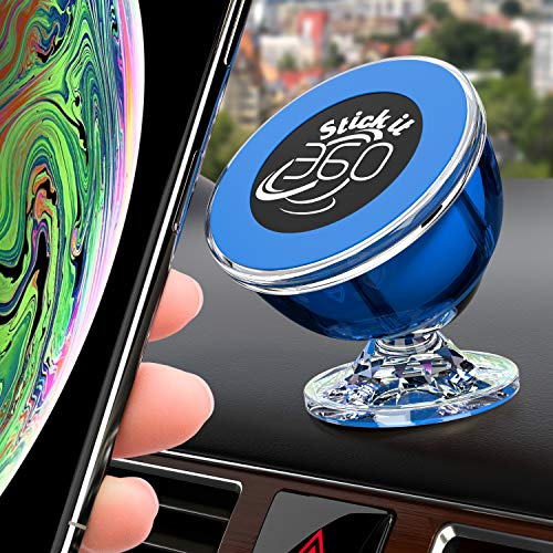 Stick it 360 Universal Cell Phone Holder for Car, Magnetic Car Phone Mount 360 Rotation from Dashboard, 6 Strong Mobile Friendly Neo Magnets 21600 Gauss, Compatible with All Smartphones (Blue)