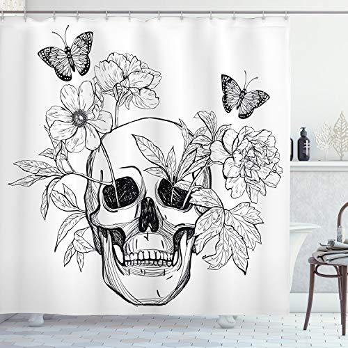 ABAKUHAUS Duschvorhang, Todes Schädel mit Flower Blumen & Schmetterlinge Vintage Gothic Print Schwarz weiß Druck, Blickdicht aus Stoff inkl. 12 Ringe für Das Badezimmer Waschbar, 175 X 200 cm