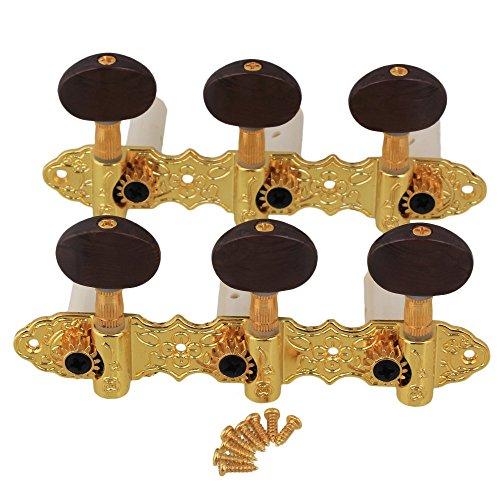 yibuy Golden Zink Legierung 3L3R Gitarre Tuning Key Peg Gitarrenmechaniken Stimmwirbel für klassische Gitarre, 2Stück 6