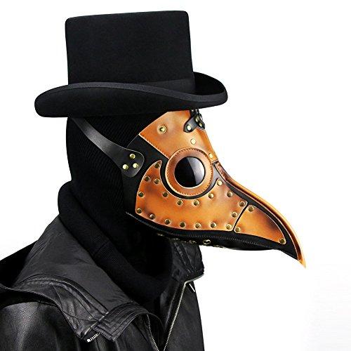 ZED- Plague Doctor Mask, Halloween Scary Maske Pest-Maske Doktor Arzt Kopfmaske Party Fasching Cosplay Venedig-Maske Karneval PU Verkleidung
