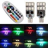 Qasim 2x LED T10 Lampadina 5050 12SMD RGB per Luci de Tettuccio Luci del Cruscotto Segnalazione Cupola Car Dome Light con Telecomando