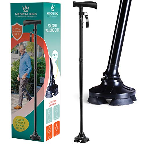 Walking Cane for Men Folding Cane for Women self Standing Cane with 10 Adjustable Heights Special Balancing Lightweight Cane by Medical King (Balck)