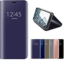 HMOON Mirror Case for Xiaomi Redmi Note 7 Purple, Premium PU Leather Flip Case + Hard PC Back Cover Luxury Clear View Design Protective Shell with Stand Function for Xiaomi Redmi Note 7/Note 7 Pro