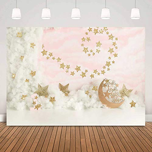 Recién Nacido Twinkle Little Star Retrato Foto Fondo de Pared Baby Shower Estrellas Doradas Fondo de Pastel de cumpleaños Photo Booth A1 9x6ft / 2.7x1.8m