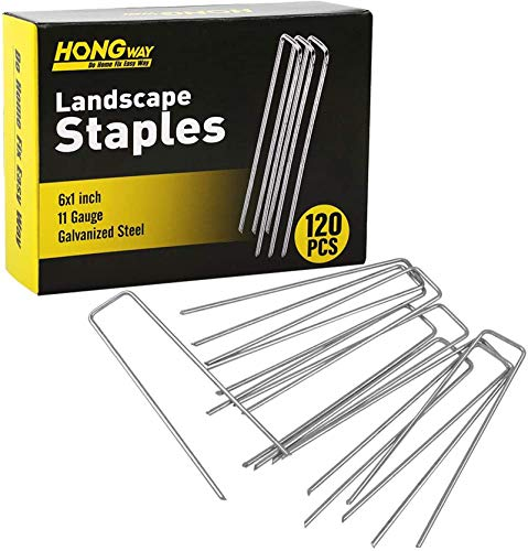 """HongWay 120pcs 6"""" 11 Gauge Heavy-Duty U-Shaped Garden Stakes Pins Galvanized Landscape Staples for Anchoring Landscape Fabric Irrigation Tubing"""