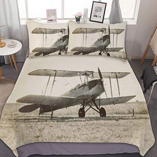 3pcs Bedding Duvet Cover Set, Vintage Biplane Aircraft Airplane Luxury Soft Breathable Bedding Collection with Zipper Closure (Twin Size)