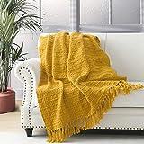Manta gruesa de punto amarilla gruesa para sofá, silla, sofá, cama, estilo bohemio, con textura de cesta con flecos decorativos, 127 x 152 cm
