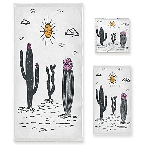 VINISATH Home Juego de Toallas Baño,Cactus Blanco y Negro Dibujado a Mano...