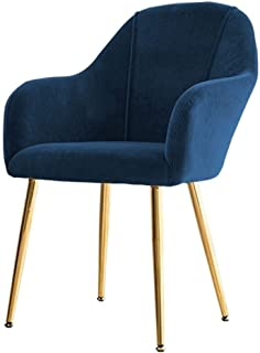 ZCXBHD Retro Cocina sillas Metal sillas recepción piernas Terciopelo sillas Comedor Antideslizante con Respaldo y apoyabrazos for sillas Salón Estar Corner (Color : Blue, Size : Golden Legs)