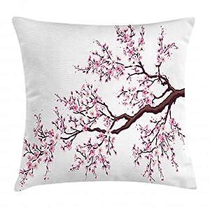 ABAKUHAUS Japonés Funda para Almohadar, Rama de Árbol Sakura Florecido Pimpollos Flor de Cerezo Arte Tema Primavera, Funda para Almohada Estampado en Ambos Lados, 50 x 50 cm, Marrón Oscuro