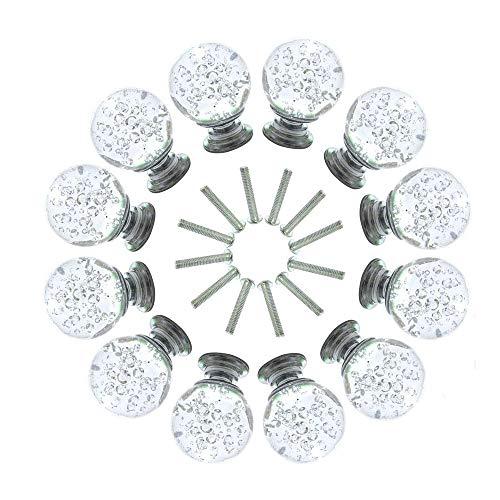Jinzsnk Kast Knoppen 10 Stks 30mm Ronde Vorm Bubble Kristal Glas Kast Knoppen Met Schroeven Lade Knop Trek Handvat Gebruikt Voor Keuken Dressoir Deur Kast voor Thuis Gebruik