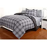 Dovedote Reversible Comforter and Matching Sheet Set for All Seasons (Twin, Grey)