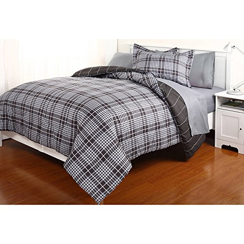 Dovedote Reversible Comforter and Matching Sheet Set for All Seasons (King, Grey)