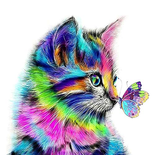 AmzKoi Diamant Malere Kits, DIY 5D Diamond Painting Set Katze, Malen nach Zahlen Diamant, Diamant Painting Bilder Arts Craft für Home Wand-Decor 30 x 30 cm