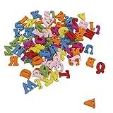 100x Colorati Lettere in Legno con Fori Flatback Abbellimenti Mestieri 1,5 cm