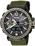 Casio Men's 'PRO TREK' Quartz Resin and Cloth Casual Watch, Color:Green (Model: PRG-600YB-3CR)