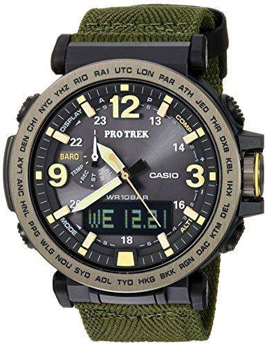 Casio Men's PRO TREK Quartz Resin and Cloth Casual Watch Analog Dial