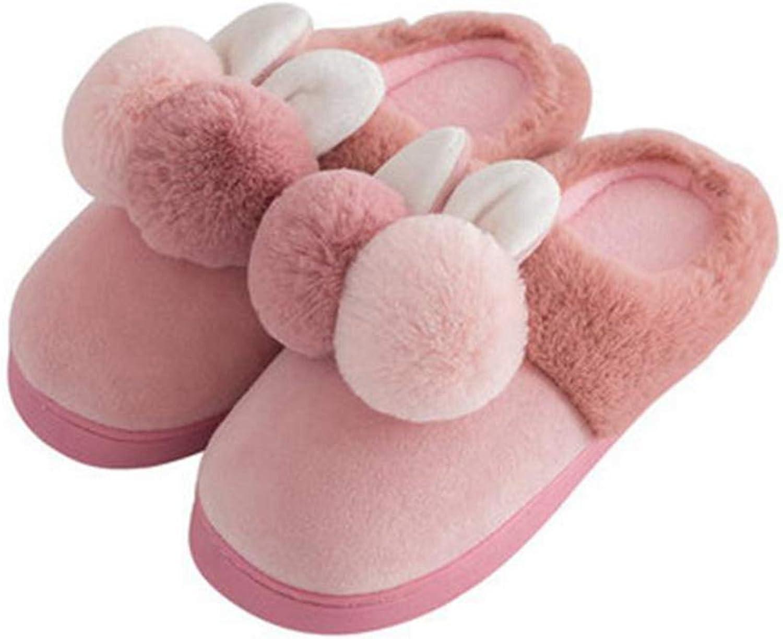 Nafanio Cute Rabbit Indoor Boots Slipper Women Winter Warm Plush Home with Fur Flat Platform Room Female shoes