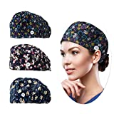 Working Cap for Women Men, One Size Printed Head Caps,Colorful Work Hat with Sweatband & Adjustable Button,Girl Skull Hats (KWHat-10/13/20)