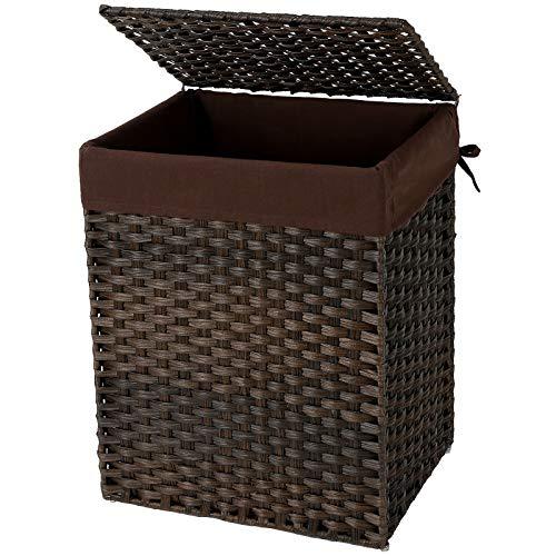 SONGMICS wasmand handgeweven, 90 L, synthetische rotan wasmand, met deksel en handvatten, opvouwbaar, waszak afneembaar, bruine LCB51BR