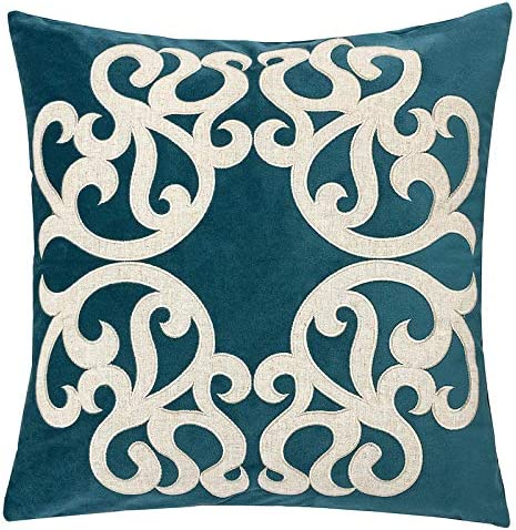Homey Cozy Cerulean Throw Pillow Cover Large Premium Applique Sparkly Vine Velvet Sofa Couch Pillowcase Modern Home Decor 20x20 Cover Only Kitchen Dining