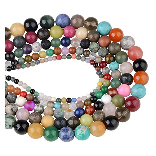 Linyuex 4,6,8,10,12mm Natural Stone Beads Black Lava Tiger Eye Bulk Loose Stone Beads For DIY Making Bracelet Necklace Jewelry (Color : Mixture Stone, Size : 6mm-60pcs)