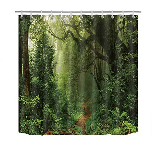 LB Grün Wald Duschvorhang 180x180CM Tropischer Palmen Duschvorhänge mit Haken,Grüne Blatt Palme Baum Dschungel Bad Vorhang Polyester Wasserdicht Anti Schimmel Badezimmer Vorhänge