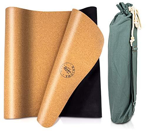 Premium Kork Yogamatte Bali, extrem rutschfeste Matte aus Kork & Naturkautschuk, 183x63x0,5cm, extra Dicke 5mm Fitnessmatte, 100% nachhaltig & schadstofffrei, Tasche & Tragegurt, Öko Trainingsmatte