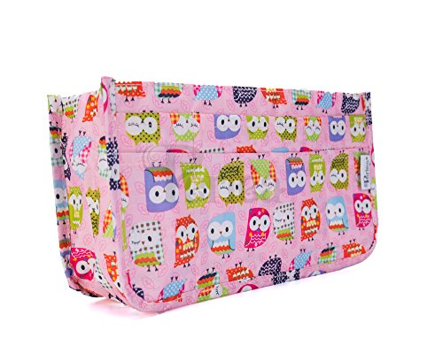 Periea Organizadores para Bolso Handbag Organiser - Daisy - 11 Colores Disponibles - Pequeño, Mediano o Grande (Búho Rosa, Pequeño)
