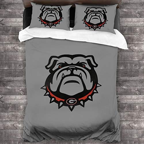 Lovable Reverie Georgia Bulldogs Soft Bedding Set 3-Piece Pillowcase Quilt Queen 86'x70'