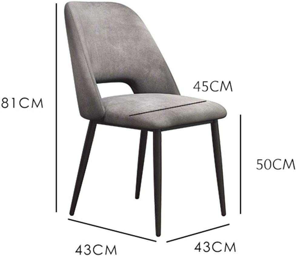 HEJINXL Chaises Salle Manger Moderne Chaise Cuisine Flanelle Coton Doux Éponge Remplie Jambes Fer Forgé Convient So Department Chair Deux Pièces (Color : B) E