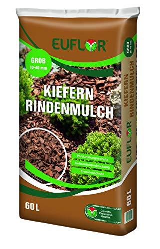 Euflor Kieferindenmulch 60L Sack, dauerhaftes Abdeckmaterial für Flächen in Gärten und auf Wegen, aus naturbelassener Kiefernrinde (10-40mm)